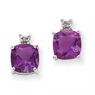 14k White Gold Amethyst & Diamond Post Earrings