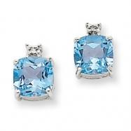 14k White Gold Blue Topaz & Diamond Post  Earrings