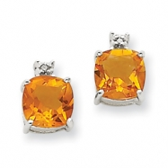 14k White Gold Citrine & Diamond Post Earrings