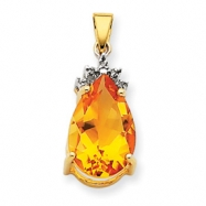 14k Citrine & Diamond Pendant