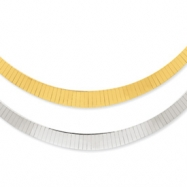 14K Two-tone 4-8mm Graduated Flat Reversible Omega Necklace chain