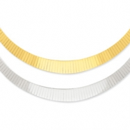 14K Two-tone 4-10mm Graduated Flat Reversible Omega Necklace chain