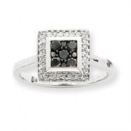 14k White Gold Black Diamond Ring