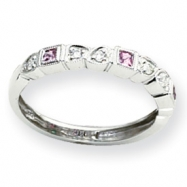 14k White Gold Diamond & Pink Sapphire Ring