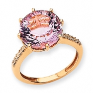 14K Rose Gold Pink Quartz and Diamond Ring