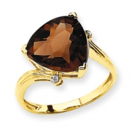 14K Smokey Quartz & Diamond Ring