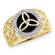 14K and Rhodium Onyx Diamond Ring