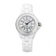 Ladies Chisel White Ceramic/White Dial CZ Bezel Watch