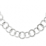14k White Gold Fancy Textured Link Necklace chain