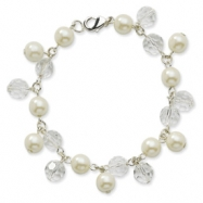 "Silver-tone Cultura Glass Pearl & Crystal Multi-drop 7.25"" Bracelet"""""