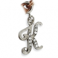 Silver-tone Crystal Initial K Spring Ring Charm