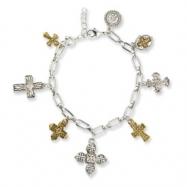 Gold-tone & Silver-tone Seven Cross 7in Charm Bracelet