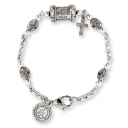 Silver-tone Mary pray for us 7.5in Cross Bracelet