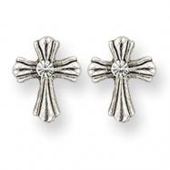 Silver-tone Crystal Cross Post Earrings