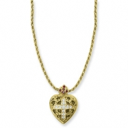 Gold-tone Sacred Heart Cross Locket 18in Necklace