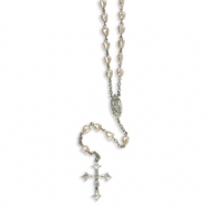 Silver-tone Pink Cultured Pearl Crucifix 31in Rosary