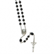 Silver-tone Black Bead Papal 32in Rosary