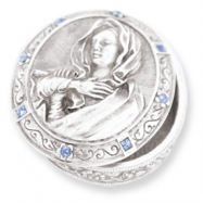 Silver-tone Mother Mary Rosary Box