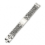 Stainless Steel Double Curb Chain ID Bracelet