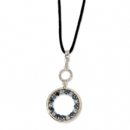 Silver-tone Lt/Dk Blue Crystal Circle on 16in w/ext Satin Cord Necklace