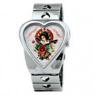 Ladies Ed Hardy Crush Silver-tone Geisha Watch