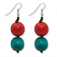 Silver-tone Red & Teal Hamba Wood Dangle Earrings