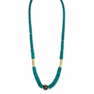 Gold-tone Teal Coconut Slip-on Stretch Graduated Bead Necklace