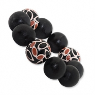 Black and Coral Hamba Wood Circle Stretch Bracelet