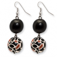Silver-tone Black and Coral Hamba Wood Circle Dangle Earrings