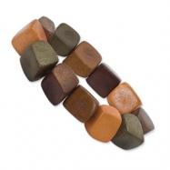 Brown, Olive & Orange Coconut Stretch Bracelet