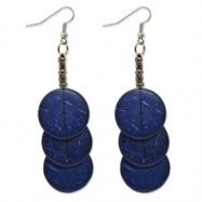 Silver-tone Coconut & Acrylic Bead 3.5in Dangle Earrings