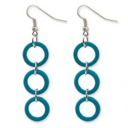 Silver-tone Blue Coconut Dangle Earrings