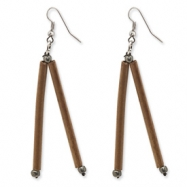 Silver-tone Bamboo & Acrylic Bead Dangle Earrings