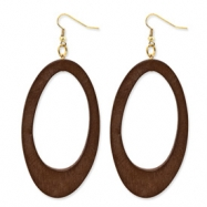 Gold-tone White Wood Aster Oval Dangle Earrings