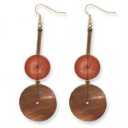Gold-tone Bamboo, Coconut & Capiz Shell Dangle Earrings