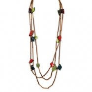Capiz Shell, Bamboo & Acrylic Bead Slip-on Necklace
