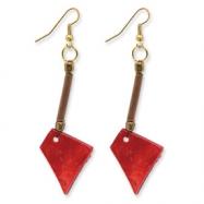 Gold-tone Bamboo, Capiz Shell & Acrylic Bead Dangle Earrings
