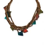 Gold-tone Bamboo, Capiz Shell & Acrylic Bead Necklace