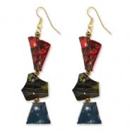 Gold-tone Capiz Shell & Acrylic Bead Dangle Earrings