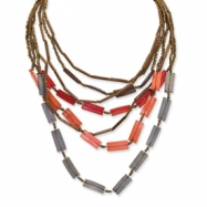 Coconut, Bamboo & White Wood Aster Layered Necklace