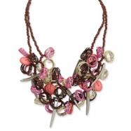 Coconut, Wicker Rings & Acrylic Bead Necklace