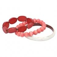 Laminated Capiz Shell & White Wood Aster Set of 3 70mm Bracelets