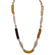 Gold-tone Coconut & White Wood Aster Fabric Necklace