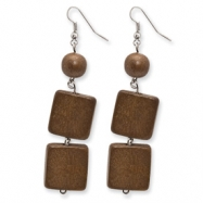 Silver-tone White Wood Aster & Coconut Dangle Earrings