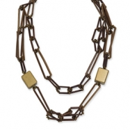 Gold-tone Bamboo, White Wood Aster & Acrylic Bead Necklace