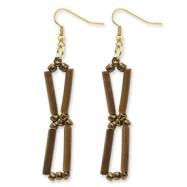 Gold-tone Bamboo & Acrylic Bead Dangle Earrings
