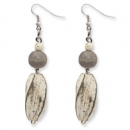Silver-tone Grey Twisted White Wood Aster Dangle Earrings