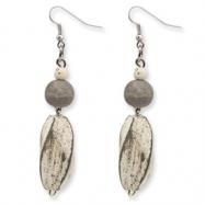 Silver-tone Grey Twisted White Wood Aster Dangle Earrings