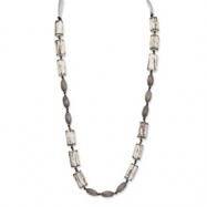 Grey White Wood Aster & Acrylic Beads Satin Ribbon Necklace