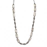 Grey White Wood Aster & Acrylic Beads Satin Ribbon Necklace